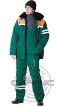"""Костюм """"СИРИУС-ЛИДЕР"""" зимний: куртка дл., полукомбинезон зелёный с оранжевым и СОП"""