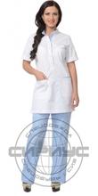 """Костюм """"ЭВИТА"""" жен: блуза, брюки белый с голубым"""