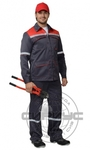 """Костюм """"МЕХАНИК"""": куртка, брюки серый с красн. и СОП 25 мм. тк.CROWN-230"""