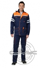"Костюм ""СИРИУС-ЛИДЕР"" летний: куртка, п/к синий с оранж и СОП 25 мм."