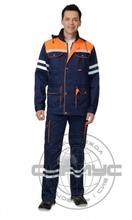"""Костюм """"ЛИДЕР"""" летний: куртка, п/к синий с оранж и СОП 25 мм."""