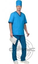 """Костюм """"СИРИУС-РЕАЛ"""" мужской:куртка, брюки, колпак светло-синий с бирюзовым"""