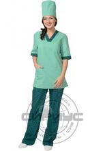 """Костюм """"СИРИУС-СОФИЯ"""" женский: куртка, брюки, колпак светлая мята с тёмно-зелёным"""