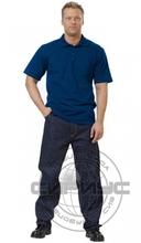 Рубашка-поло короткие рукава синяя, пл.205 г/кв.м.