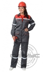 "Костюм ""МЕХАНИК"" женский: куртка, брюки серый с красн. и СОП 25 мм. тк.CROWN-230"